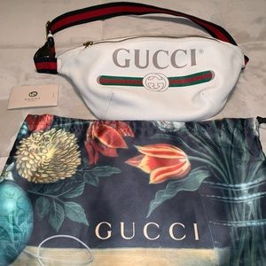 White Leather Print Gucci Belt-bag